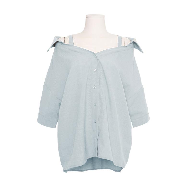 一字翻領前短後長純色襯衫