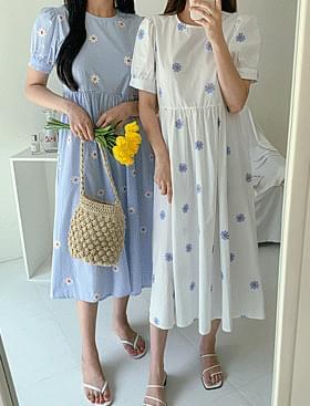 韓國空運 - ★Plan ★Sky Flower Ops Flower Embroidery Detail:) 及膝洋裝