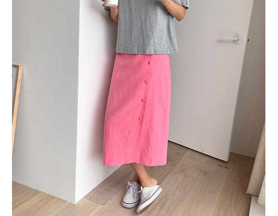 Button linen banding skirt_K (size : free)