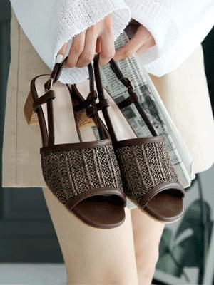 Reent Rattan Slingback Sandals 4cm