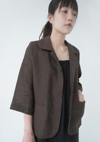 three-quarter sleeve linen jacket