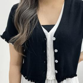 Layered frill cropped short-sleeved cardigan
