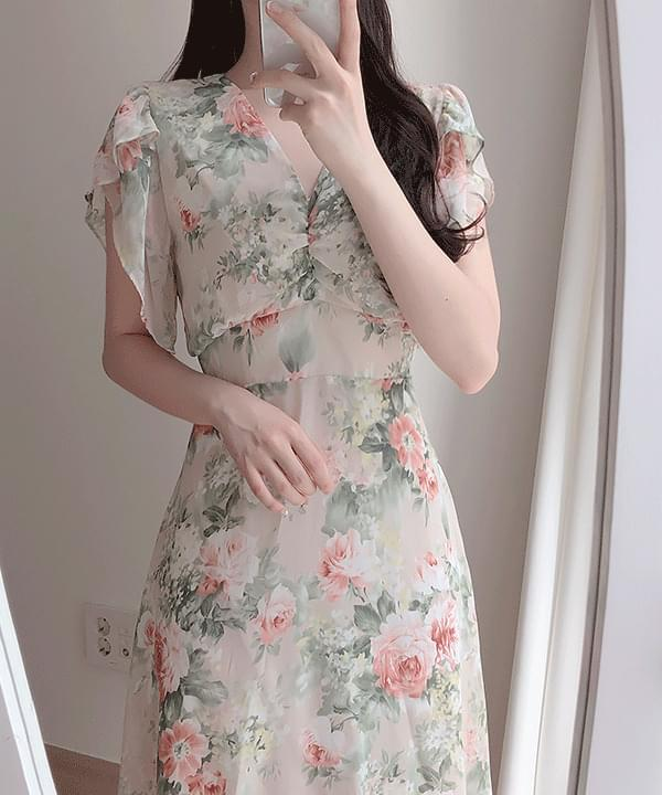 Basel floral chiffon long dress