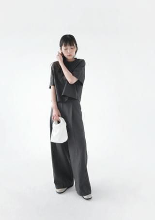 linen wide color pants