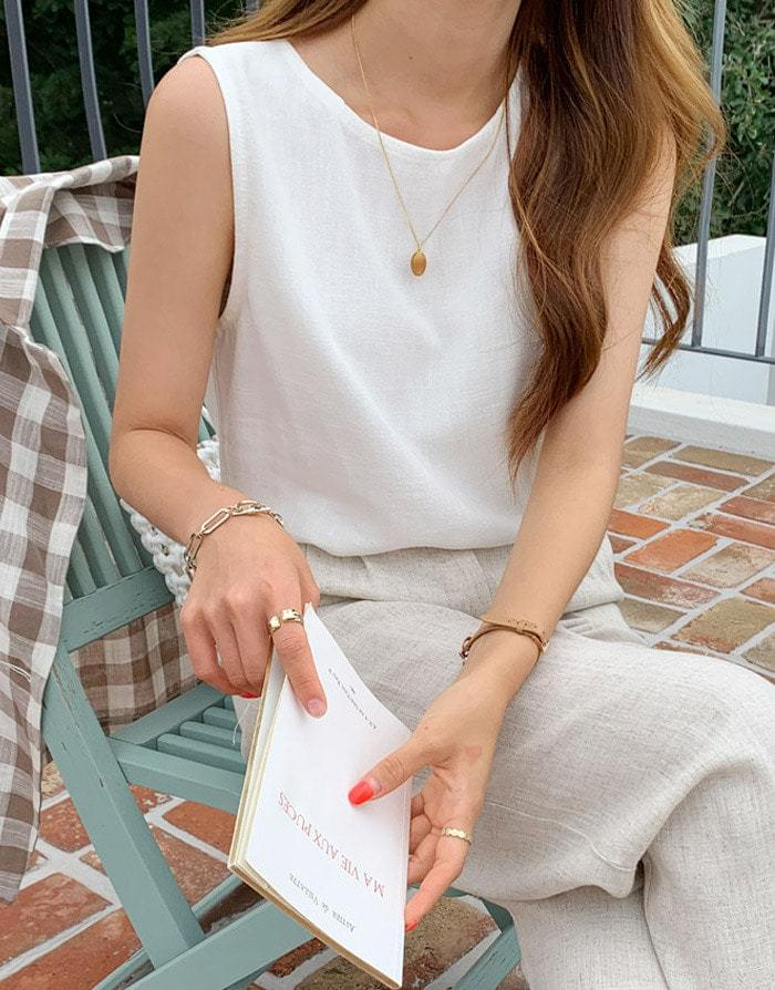 Coren Linen Basic Nasi Blouse blouses