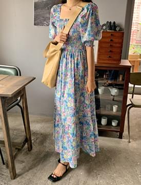 Flower smoke puff long dress