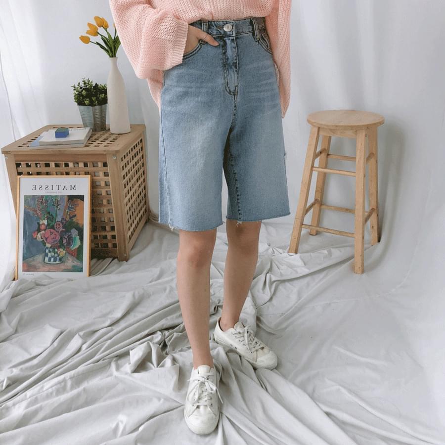 1061 side cut 5 part denim shorts