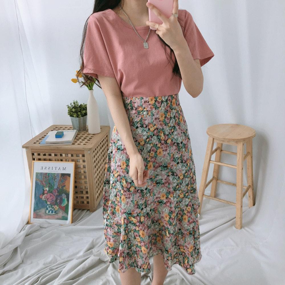Lavender floral skirt T-shirt SET