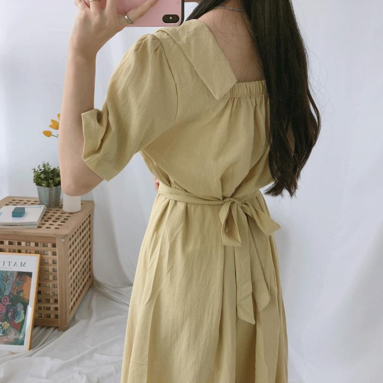 Elegant collar long dress