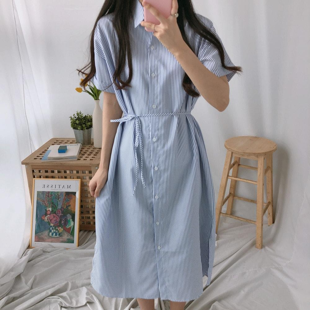 Long Long Strap Belt Shirt Dress