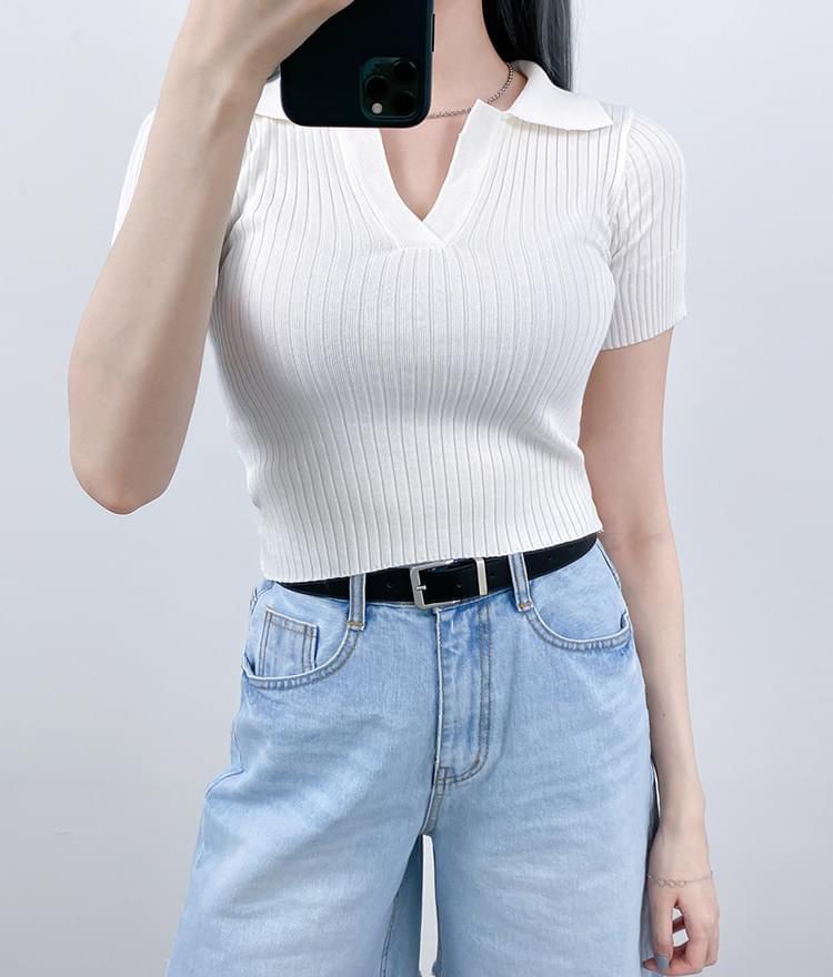 Collar Slim Fit Knit