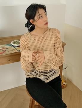 Net sleeveless knit set