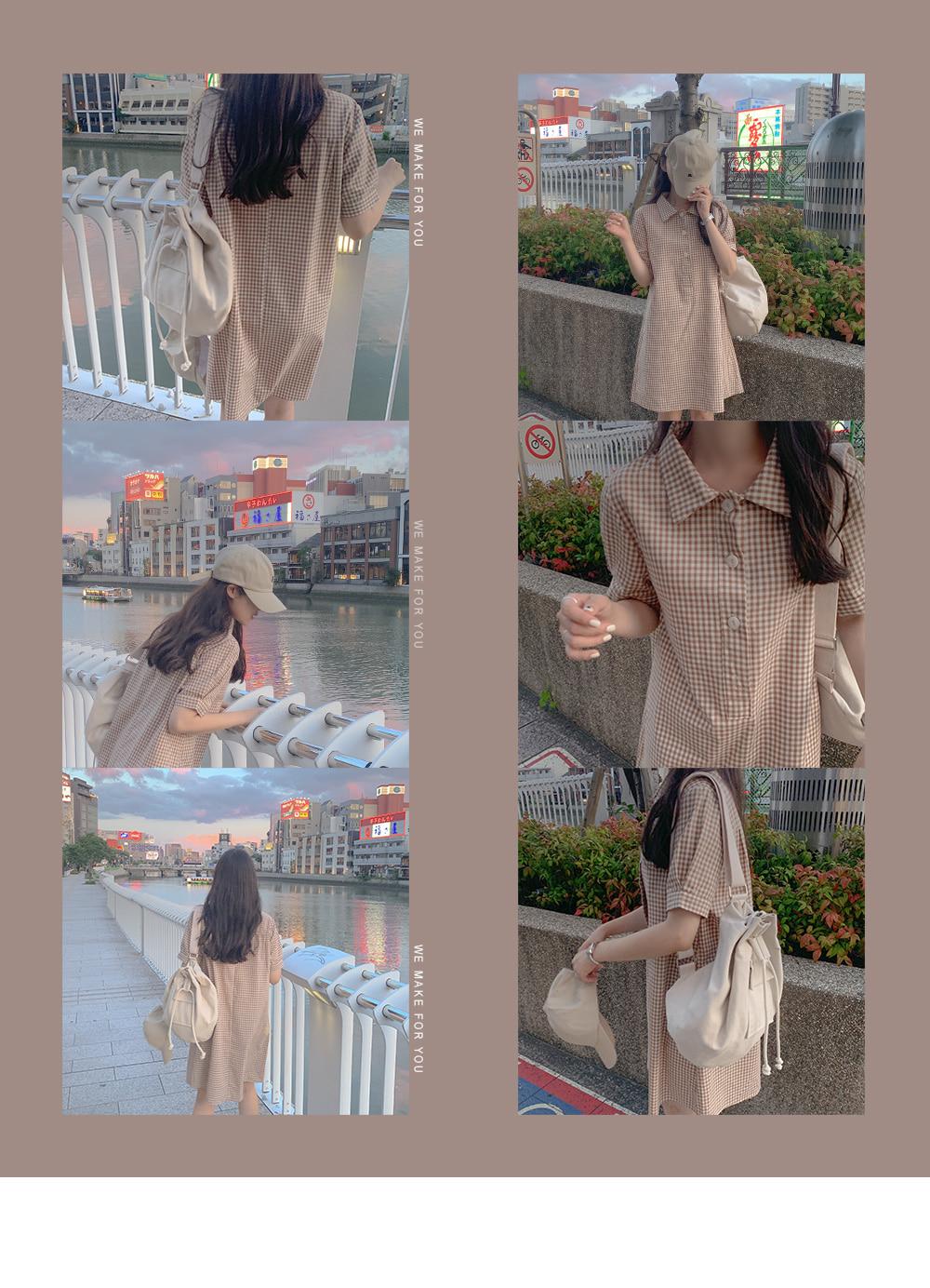 Jinu check collar dress