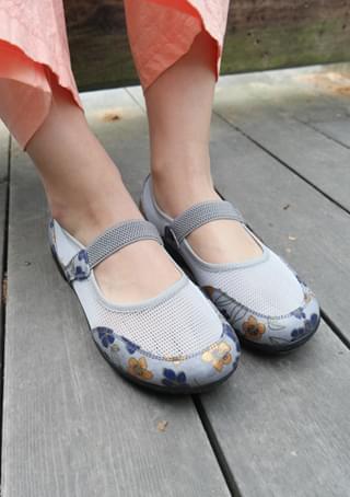 flower mesh flat shoes