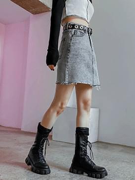 Cutting stone denim skirt skirt