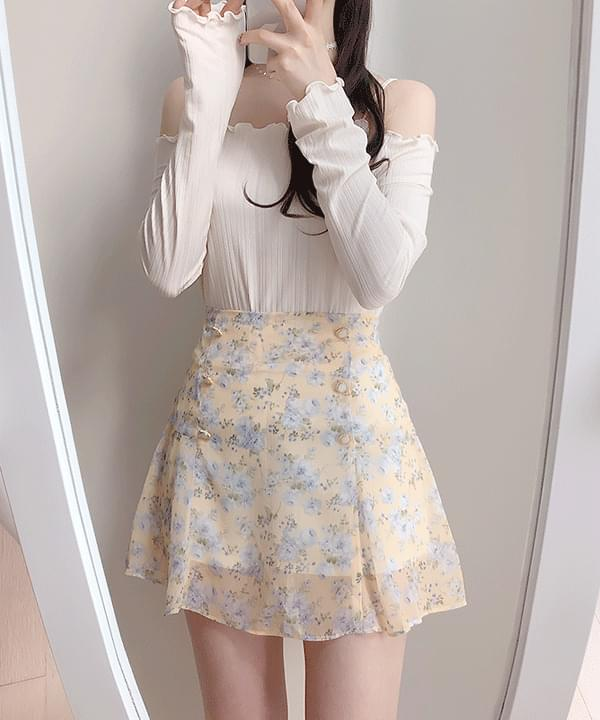 Yogurt Flower Skirt Pants
