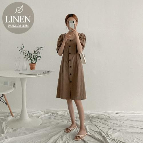 Deep Square Pin Chin Linen Dress