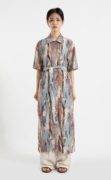 Grain strap pattern maxi dress