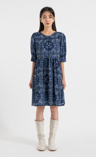 Paisley Shirring Puff Mini Dress