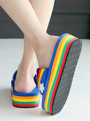 Rainbow Rice Cake Slippers 4cm