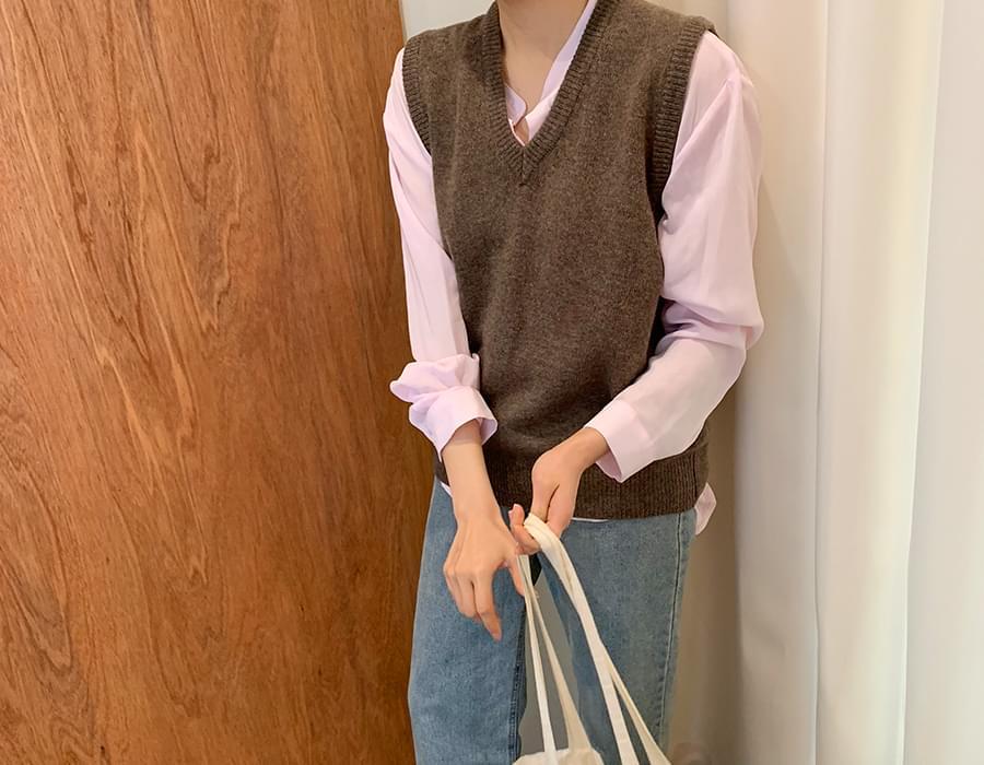 Toast v-neck knit vest_S  (size : free)