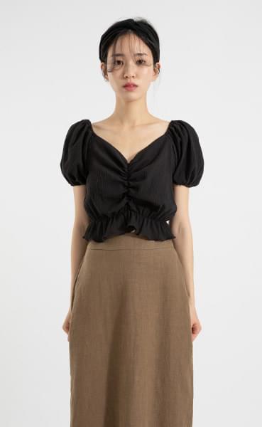 Joan Shirring crop off-shoulder blouse