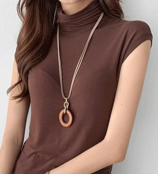 Chamois string long necklace #85416