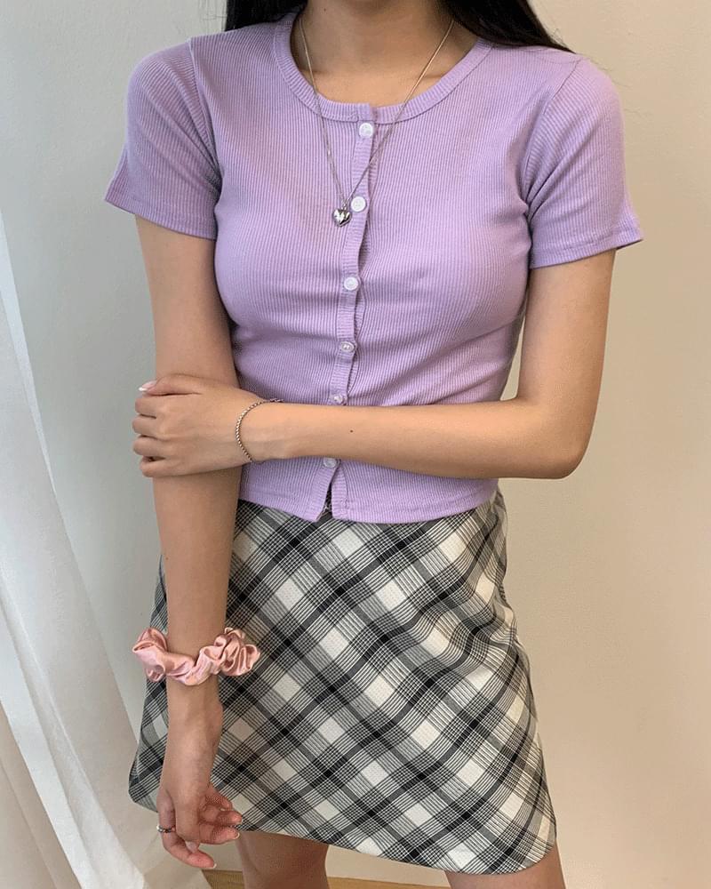 슬림핏 골지 쫀쫀 단추 반팔 가디건 (5colors)