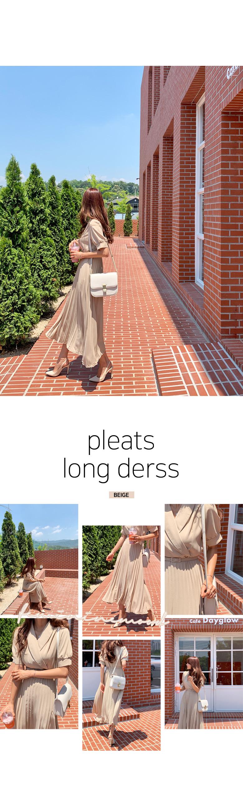 Brady Half Pleats Long Dress