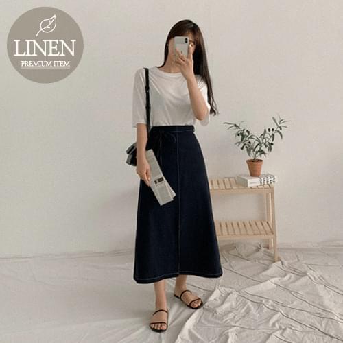 Riolin Linen Stitch Long Skirt