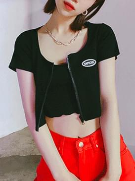Crop zipper cardigan & T-shirt