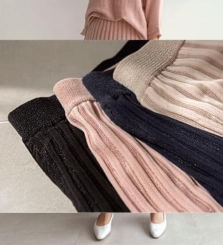 韓國空運 - Shine Knit Pleats Long Skirt #51225 裙子