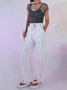 Linen suspender jogger pants