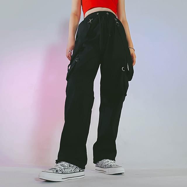 Linen suspender jogger pants 長褲