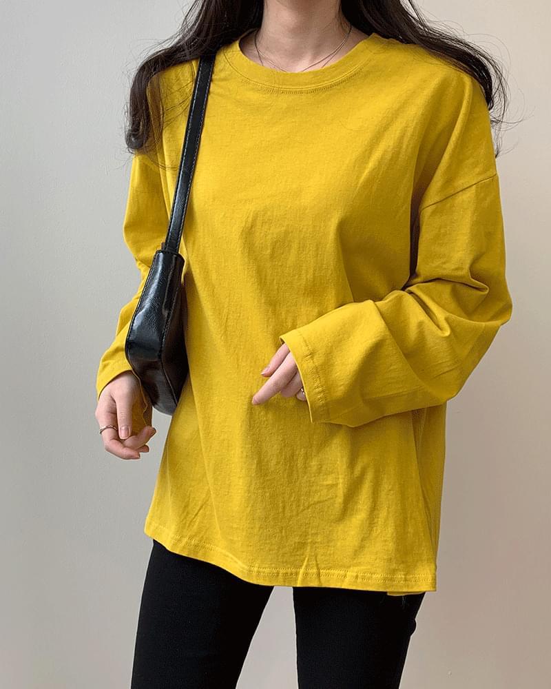 Loose Fit Plain Long Sleeve Boxy Basic T-Shirt