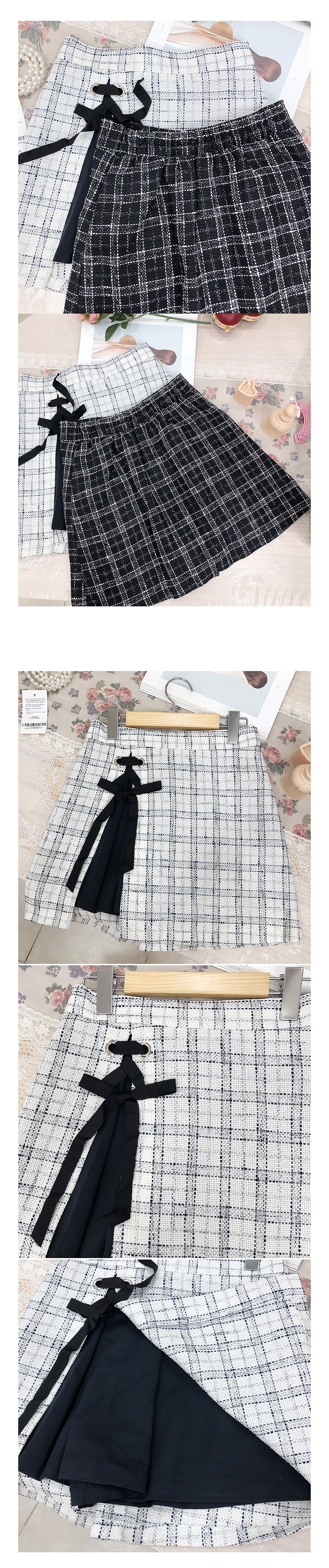 Single production ♥ tweed eyelet skirt pants