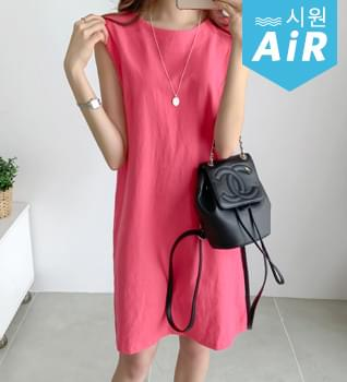 韓國空運 - Minimal Linen Split Dress #37164 及膝洋裝