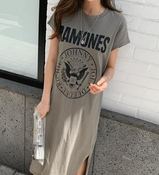 韓國空運 - Ramonds Split Short Sleeve Long Dress #37534 長洋裝