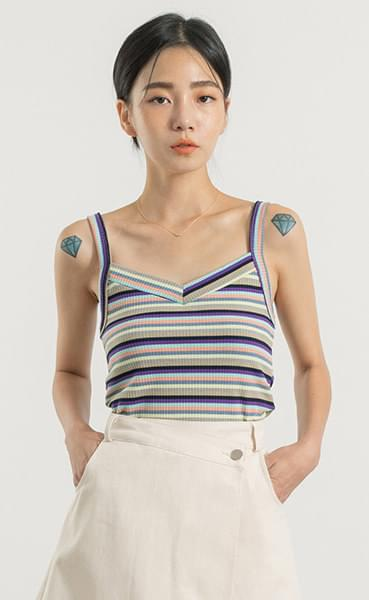 Mix striped sleeveless top