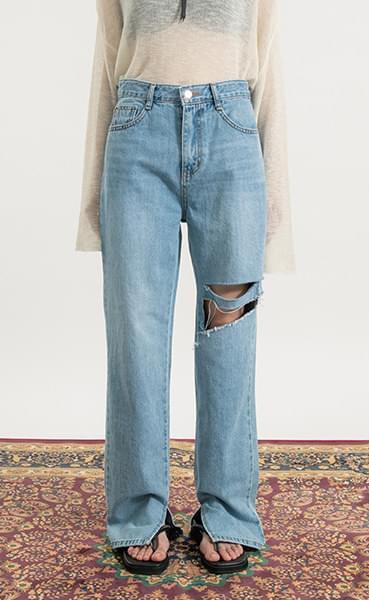 Slit damage straight jeans
