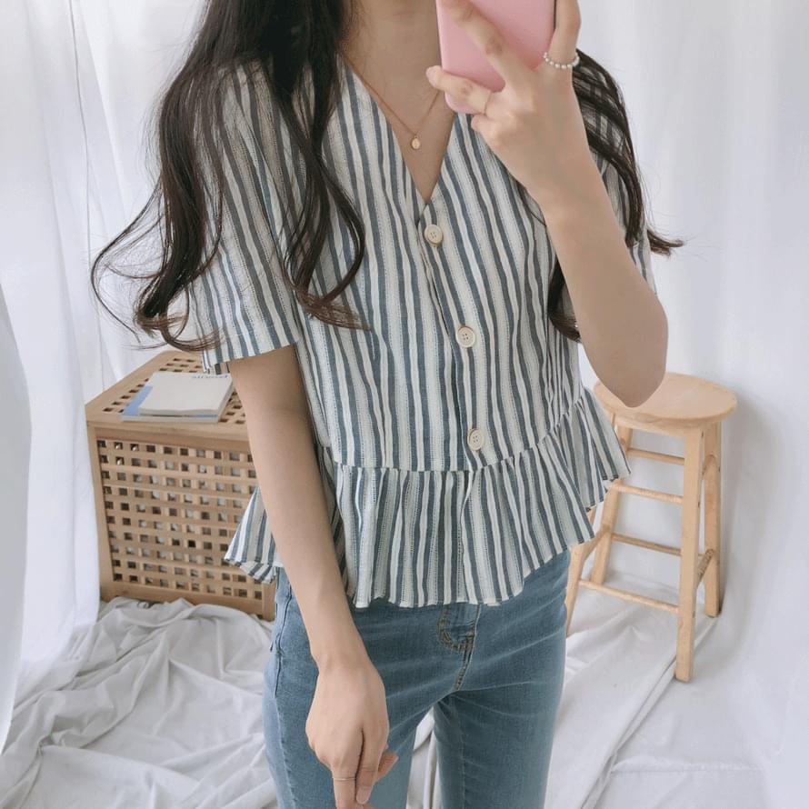 韓國空運 - Collie V-neck button short sleeve blouse 襯衫