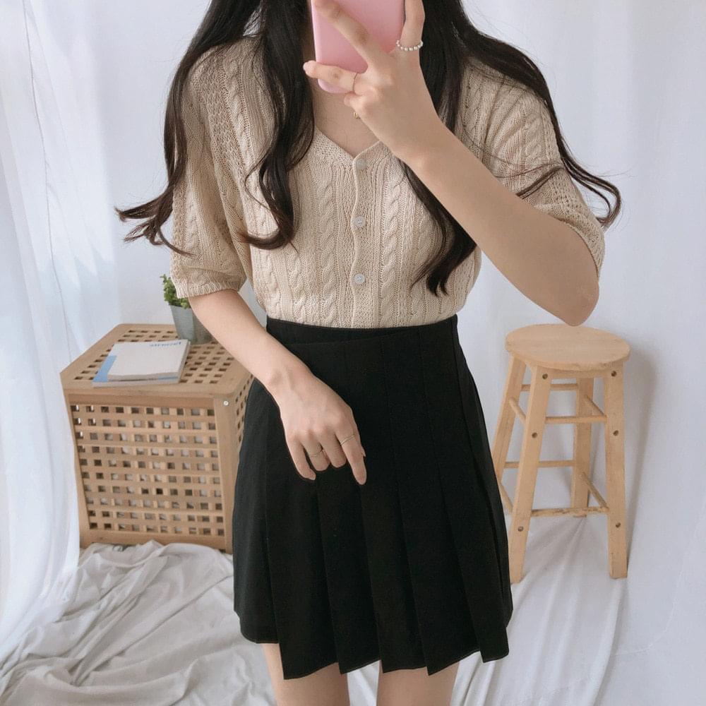 셀린 슬림 반팔 니트 가디건 (cd0064)
