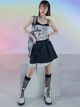 Lace Zelin Shirring Mini Skirt