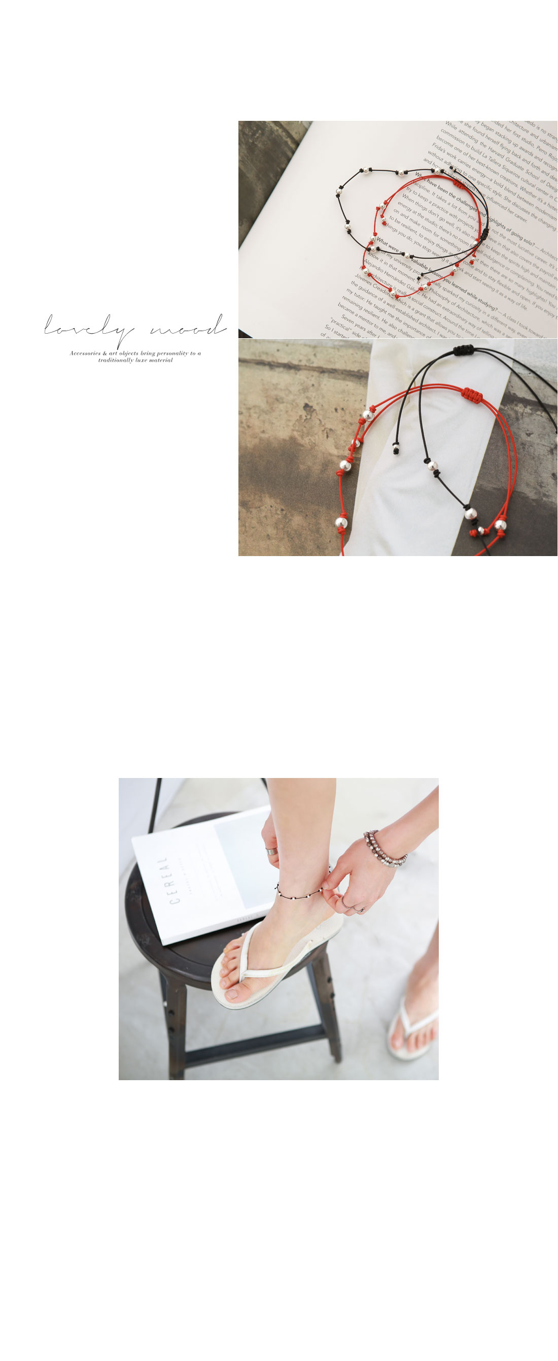 Ahzen Silver Ball Strap Anklets #84084
