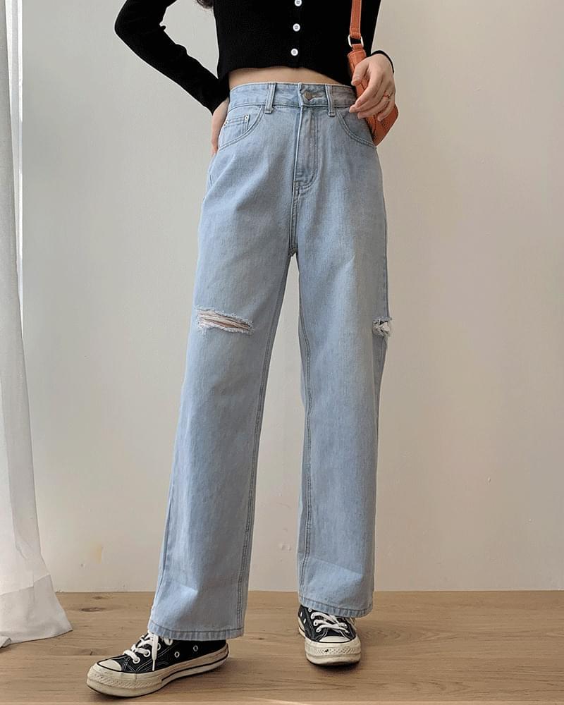 Wide pants knee teuim jjitcheong Light Blue