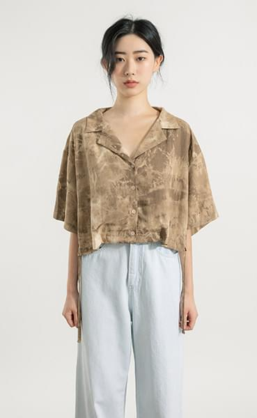 Mecha string tie-dye cropped shirt