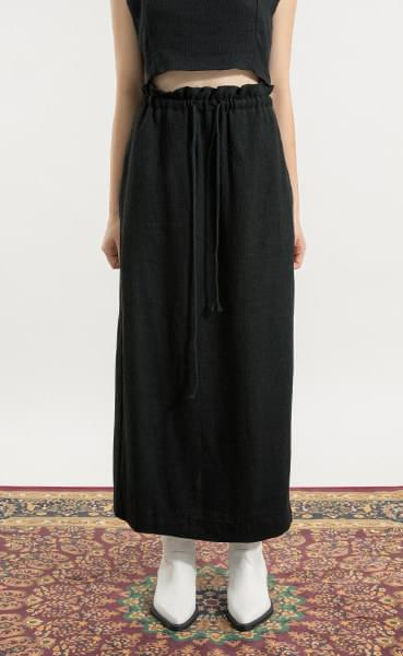 Heather linen banding maxi skirt