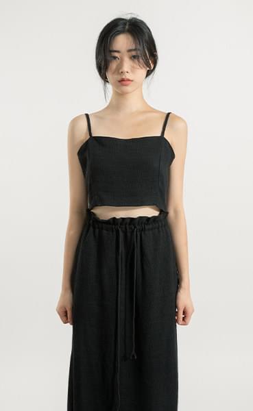 Heather linen crop sleeveless top