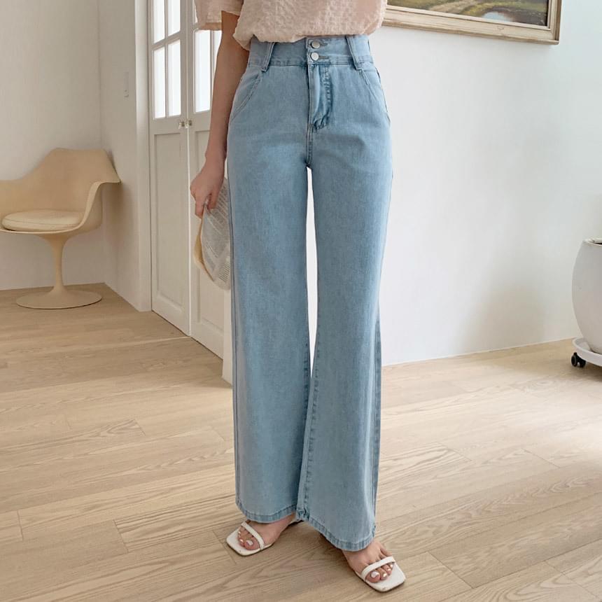 Buttons wide long denim pants