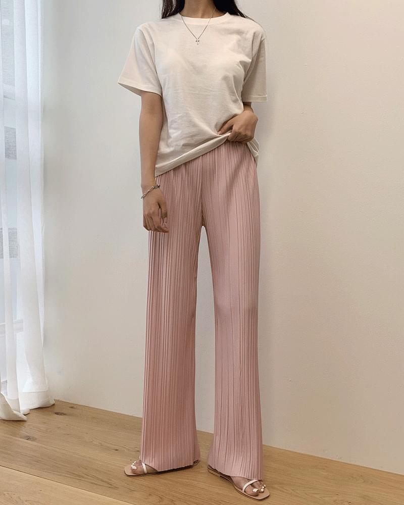 Pleated pleated waist banding long pants